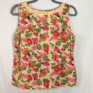 White Stag Tops - Cute Sleeveless Button Down Floral Tank Top